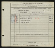 Entry card for Woldman, Edward E. for the 1934 May Show.