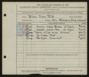 Entry card for Wolfs, Wilma Diena for the 1934 May Show.