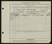 Entry card for Woodbridge, Elizabeth Stair for the 1934 May Show.