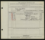 Entry card for Wootton, Don for the 1934 May Show.