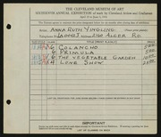 Entry card for Yingling, Anna Ruth for the 1934 May Show.