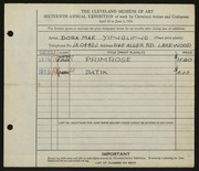 Entry card for Yingling, Dora Mae for the 1934 May Show.