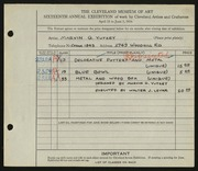 Entry card for Yutzey, Marvin G., and Levar, Walter J. for the 1934 May Show.