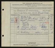Entry card for Zimmerman, Bernice for the 1934 May Show.