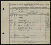 Entry card for Aitken, Russell Barnett, and Pottery Workshop for the 1935 May Show.