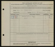 Entry card for Bagaria, William J. for the 1935 May Show.
