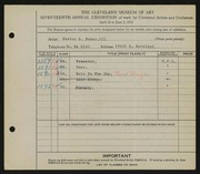 Entry card for Baker, Newton D., III for the 1935 May Show.