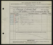 Entry card for Ball, George Colburn for the 1935 May Show.