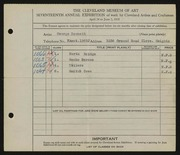 Entry card for Bennett, George Edward for the 1935 May Show.