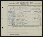 Entry card for Berkowitz, Benjamin B. for the 1935 May Show.