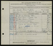 Entry card for Billmyer, John E. for the 1935 May Show.