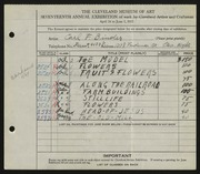 Entry card for Binder, Carl for the 1935 May Show.