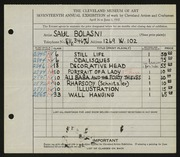 Entry card for Bolasni, Saul for the 1935 May Show.