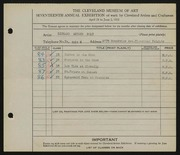 Entry card for Bolt, Dr. Richard Arthur for the 1935 May Show.