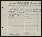 Entry card for Bonham, Martha E. for the 1935 May Show.