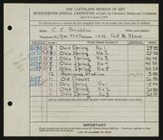 Entry card for Braddon, Charles Edwin for the 1935 May Show.