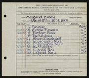 Entry card for Brady, Margaret L. for the 1935 May Show.