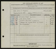 Entry card for Brayton, John C. for the 1935 May Show.