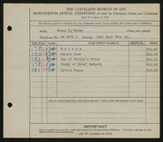 Entry card for Brown, Zenas H. for the 1935 May Show.
