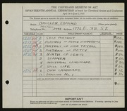 Entry card for Brucker, Edmund for the 1935 May Show.