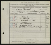 Entry card for Busch, Hans for the 1935 May Show.