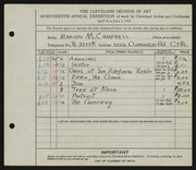 Entry card for Campbell, Marion Macdonald  for the 1935 May Show.