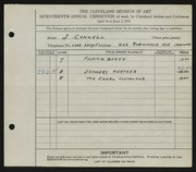 Entry card for Cannell, Joseph for the 1935 May Show.