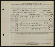 Entry card for Cass, Caroline Pickands for the 1935 May Show.