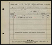 Entry card for Chase, Harry R. for the 1935 May Show.