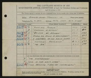 Entry card for Chemney, Stanley James, Jr. for the 1935 May Show.