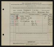 Entry card for Cherry, John Terrance for the 1935 May Show.