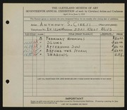 Entry card for Ciresi, Anthony S. for the 1935 May Show.