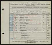 Entry card for Clough, Stanley T. for the 1935 May Show.