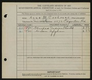 Entry card for Cochrane, Anna M. for the 1935 May Show.
