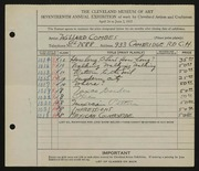 Entry card for Combes, Willard Wetmore for the 1935 May Show.