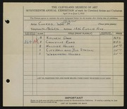 Entry card for Conrad, William H. for the 1935 May Show.