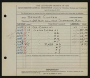Entry card for Cooper, Dr. Bernard Henry for the 1935 May Show.