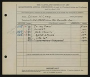 Entry card for Craig, Oliver Newell for the 1935 May Show.