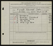 Entry card for Curtis, Floyd Edward for the 1935 May Show.