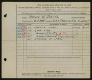 Entry card for David, Bruce W. for the 1935 May Show.