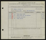 Entry card for Davies, Maxton R., Jr. for the 1935 May Show.
