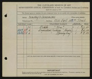 Entry card for Densmore, Dorothy S. for the 1935 May Show.