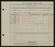 Entry card for Di Marco, Jan for the 1935 May Show.
