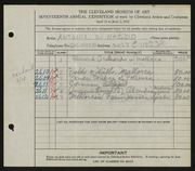 Entry card for Di Nardo, Antonio for the 1935 May Show.