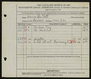Entry card for Douthitt, Louise for the 1935 May Show.