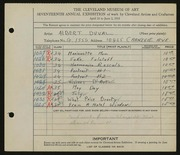Entry card for Duval, Albert D. for the 1935 May Show.