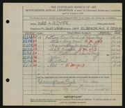 Entry card for Dyer, Nora E. for the 1935 May Show.