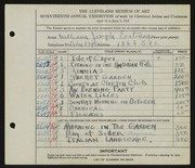 Entry card for Eastman, William Joseph for the 1935 May Show.