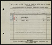Entry card for Eberly, Clyde for the 1935 May Show.