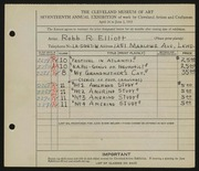 Entry card for Elliott, Robb R. for the 1935 May Show.